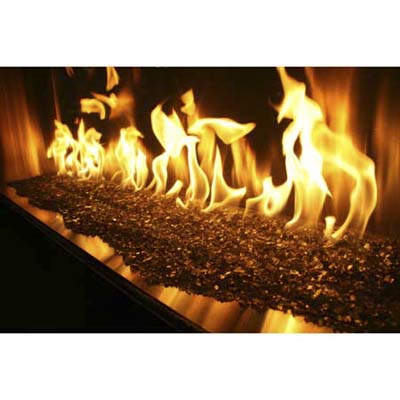 The gas Fireplace Xtreme cranks out 95,000 Btu on a bed of broken glass
