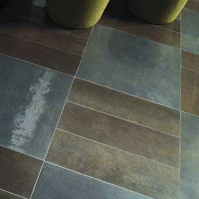 Metal earth-toned tiles from Daltile.