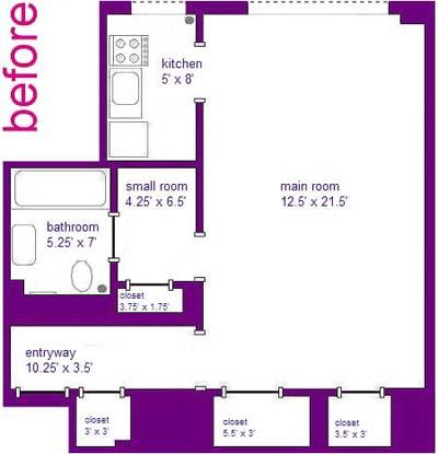 before floor plans of studio apartment