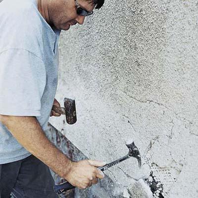 Break off loose stucco